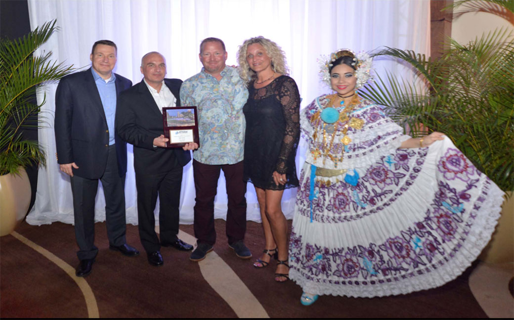Builder of Excellence presented to A Plus Pools at Latham Dealer Conference, Panama 2018