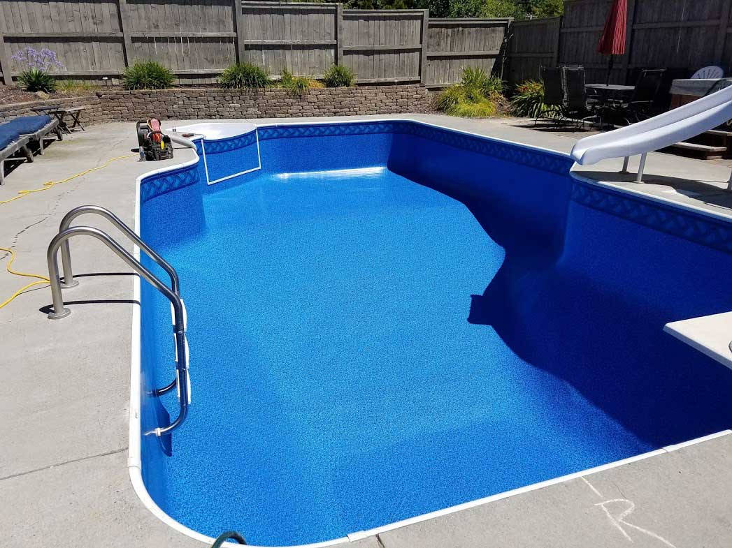 Vinyl liner pool installation project - before and after